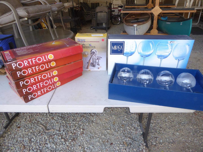 Lot # 81 - Five Halogen Picture Lights, Corkmaster Wine Opener & Mikasa Wine Glasses (NIB) (main image)