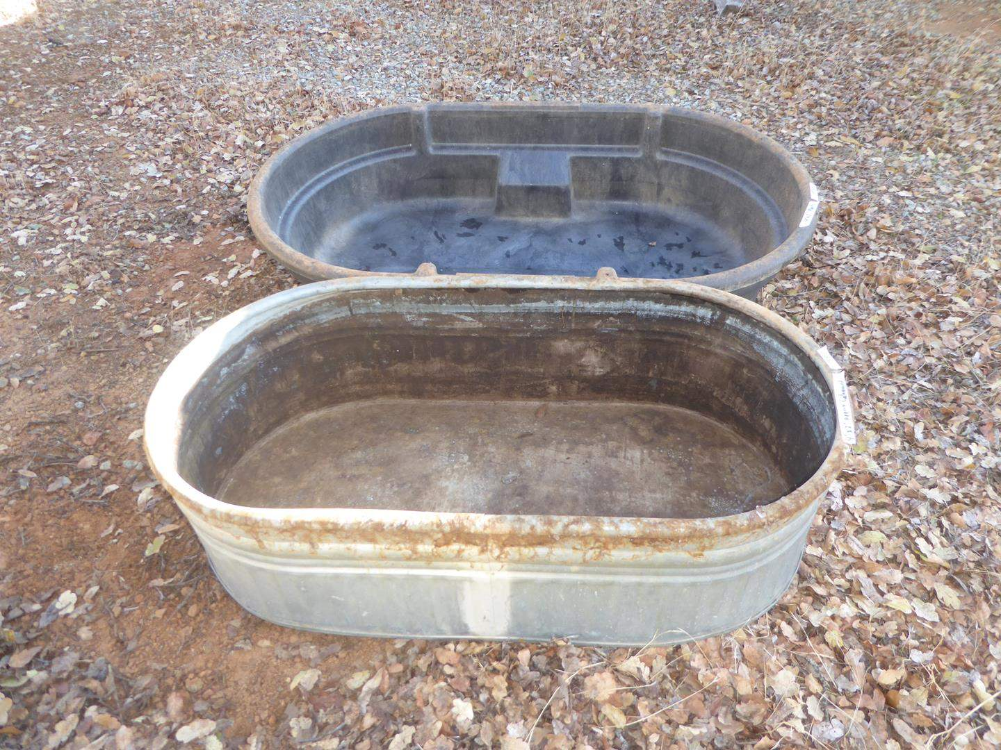 Lot # 95 - Galvanized & Rubbermaid Water Troughs (main image)