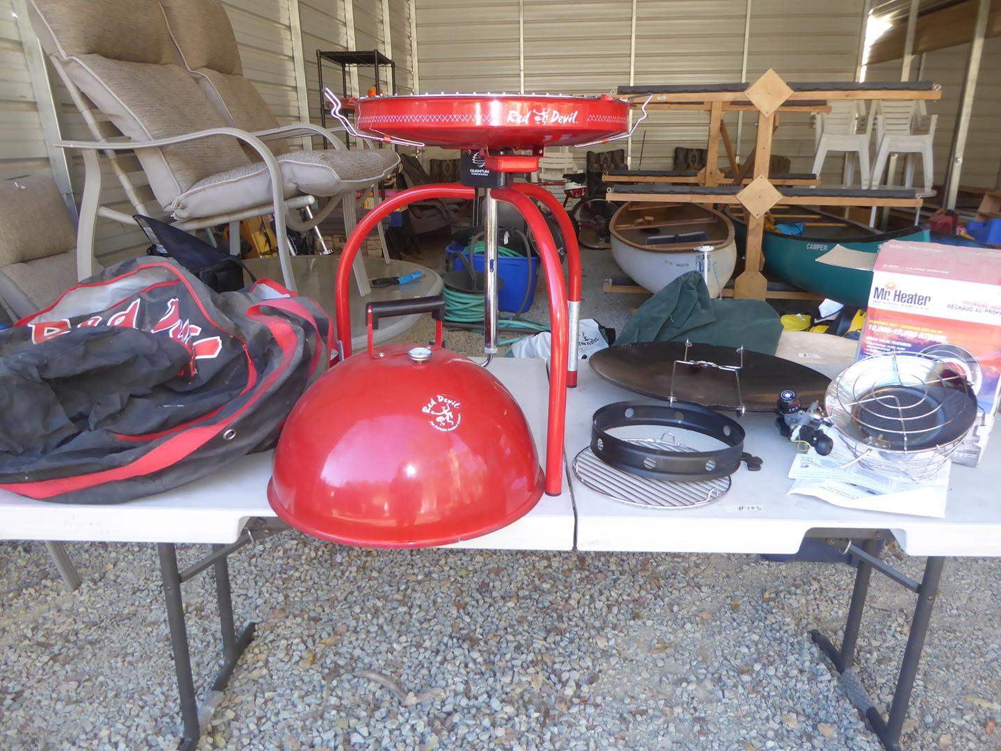 Lot # 103 - Red Devil Portable Gas Outdoor Kitchen Grill & Mr. Heater (main image)