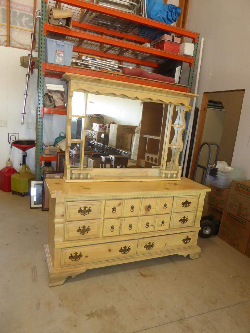 Lot # 200 - Two Piece Vintage Style Wooden 9 Drawer Dresser with Mirror (main image)