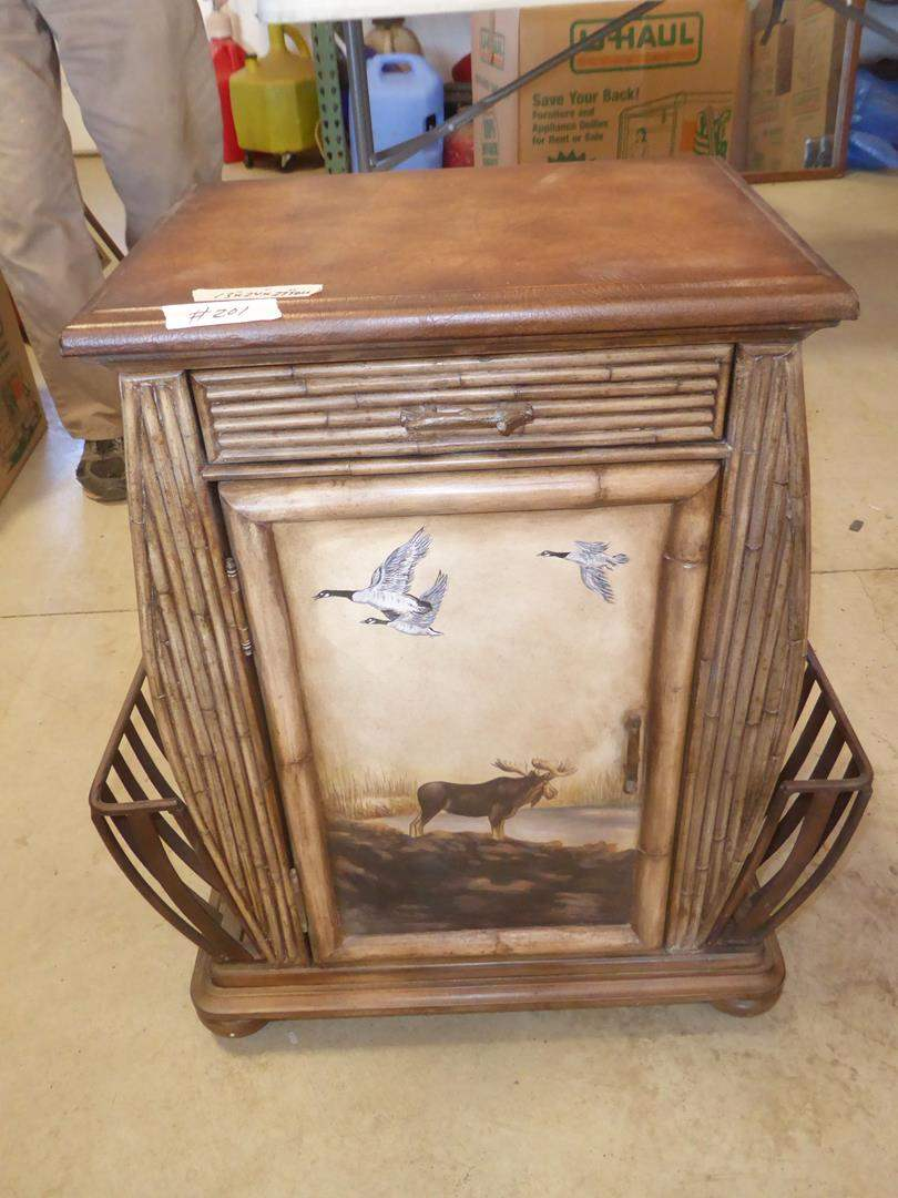 Lot # 201 - Cabin Style Small Accent Table / Magazine Rack w/Drawer & Cabinet (main image)