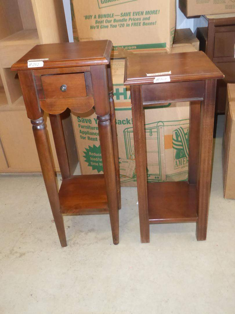 Lot # 202 - Two Wooden Plant Stands - One w/Drawer & One Marked Lane (main image)