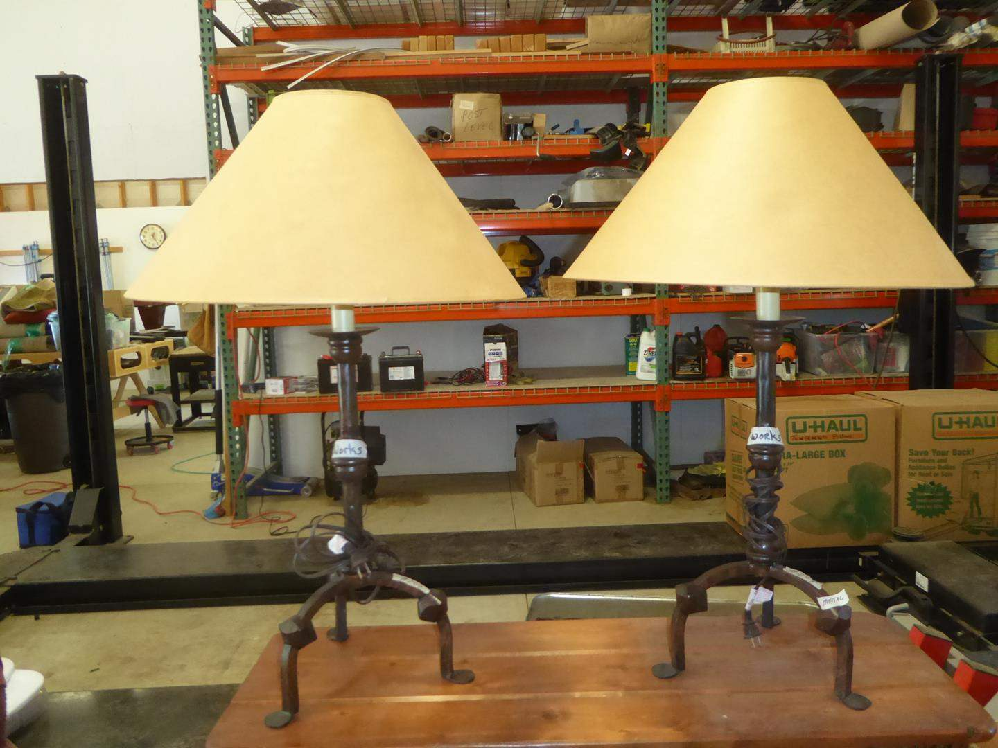 Lot # 204 - Pair Metal Western Style Table Lamps (main image)