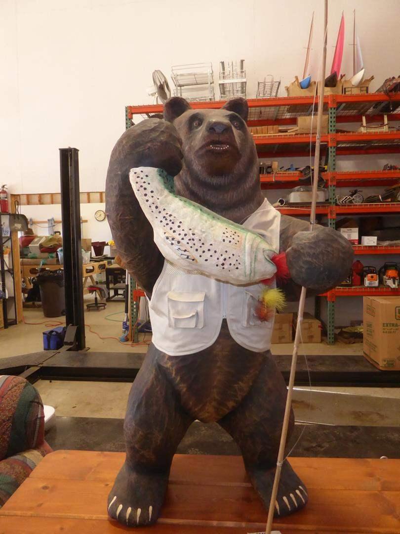 "Lot # 207 - 'Midwest' Paper Mache Fishing Bear 3' 6"" Tall (main image)"