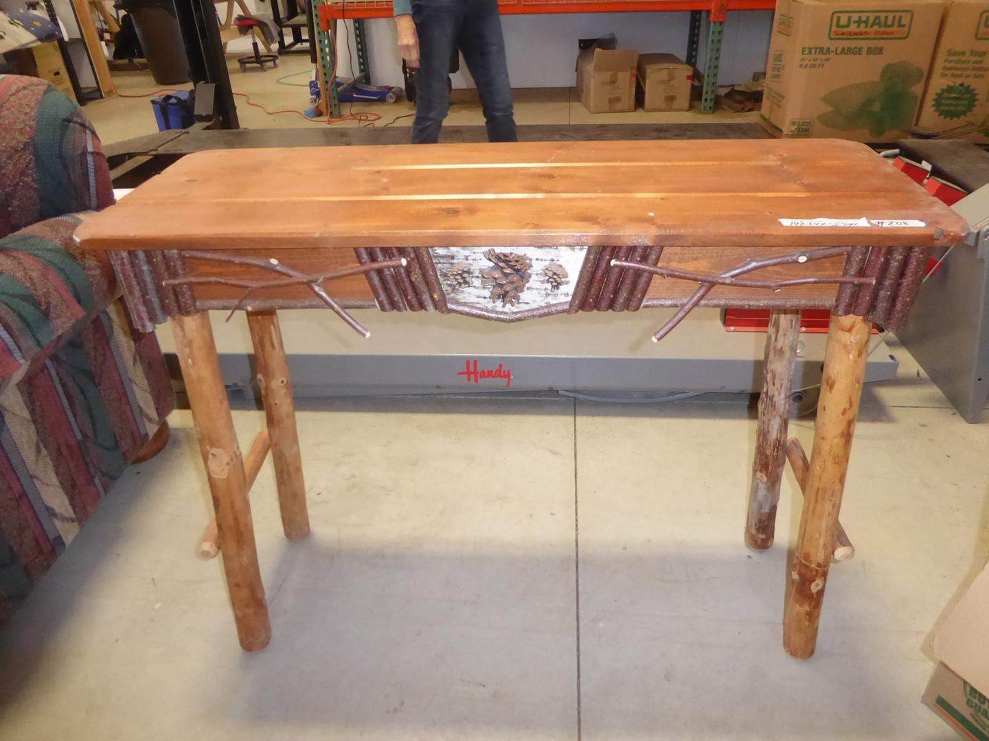 Lot # 208 - Nice Quality Signed Cabin Style Pine Wood Entryway Table w/Log Legs & Pinecone Accents (main image)