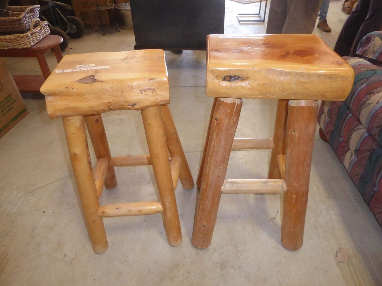 Lot # 210 - Two Heavy Solid Wood Log Furniture Bar Stools (main image)