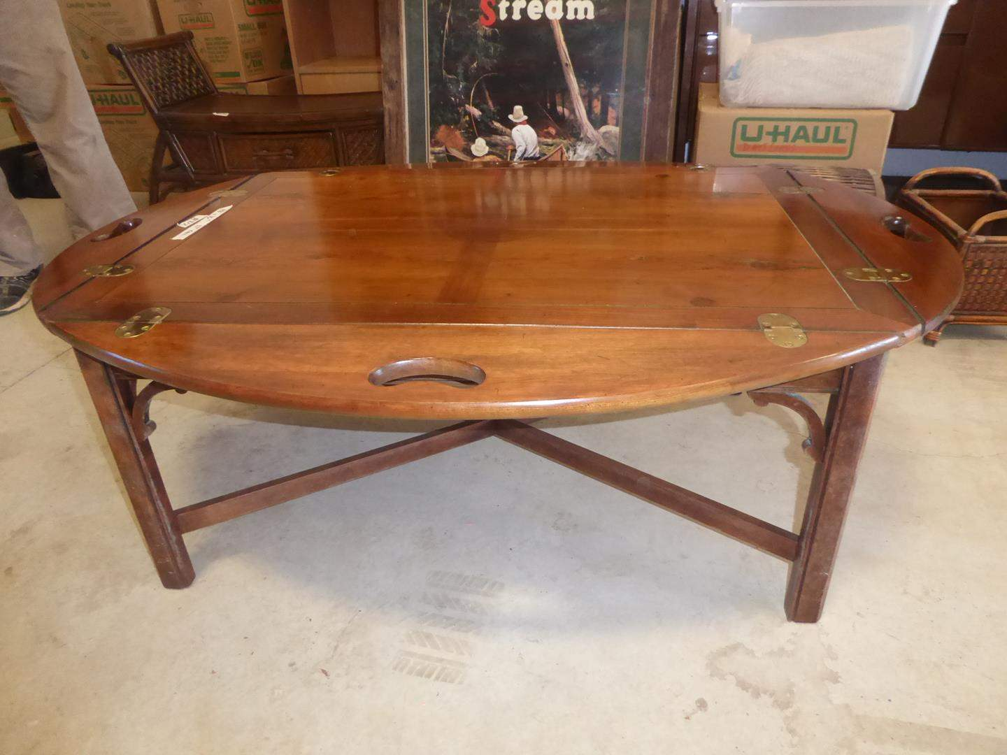 Lot # 212 - Hinged Cherry Wood Butlers Tray Coffee Table (main image)