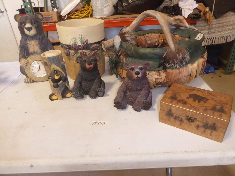 Lot # 213 - Resin Bear Clock, Bear Candle Holder, Big Sky Bear Figurines, Pine Cone Waste Basket & Faux Antler Leather Basket (main image)