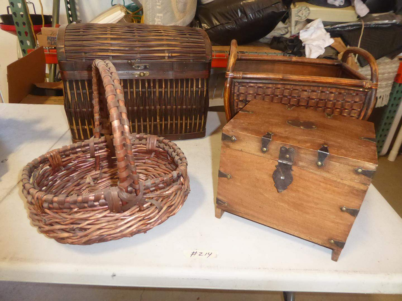 Lot # 214 - Wicker Basket, Magazine Rack, Lidded Box & Wooden Box (main image)