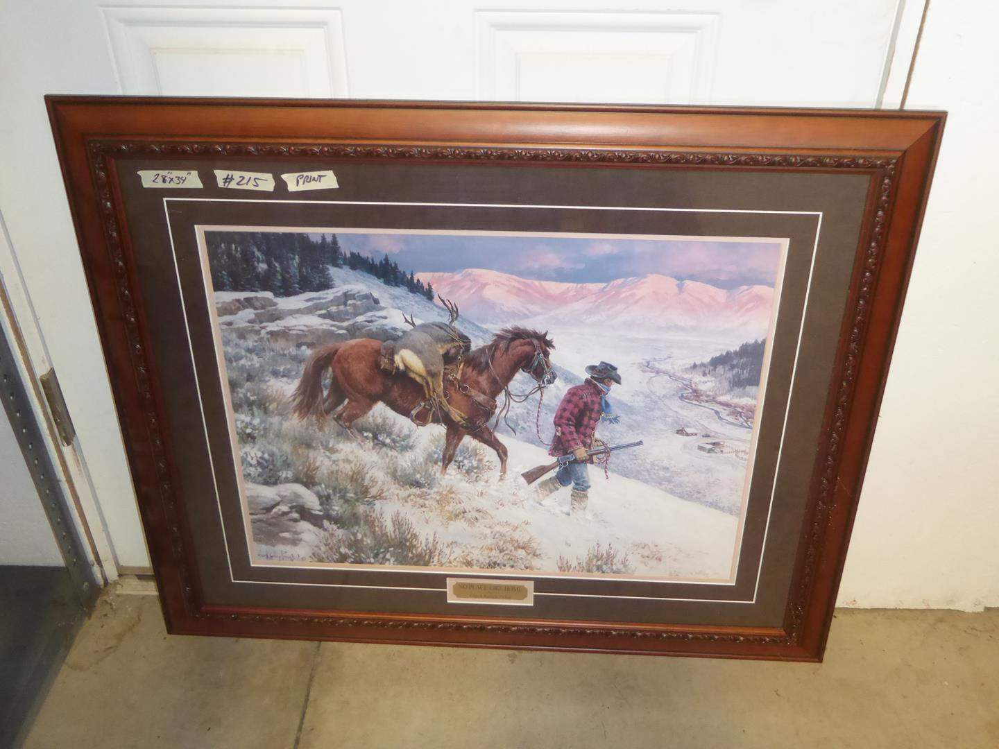 """Lot # 215 - Wonderful Framed Western Print """"No Place Like Home"""" by Clark Kelley Price (main image)"""