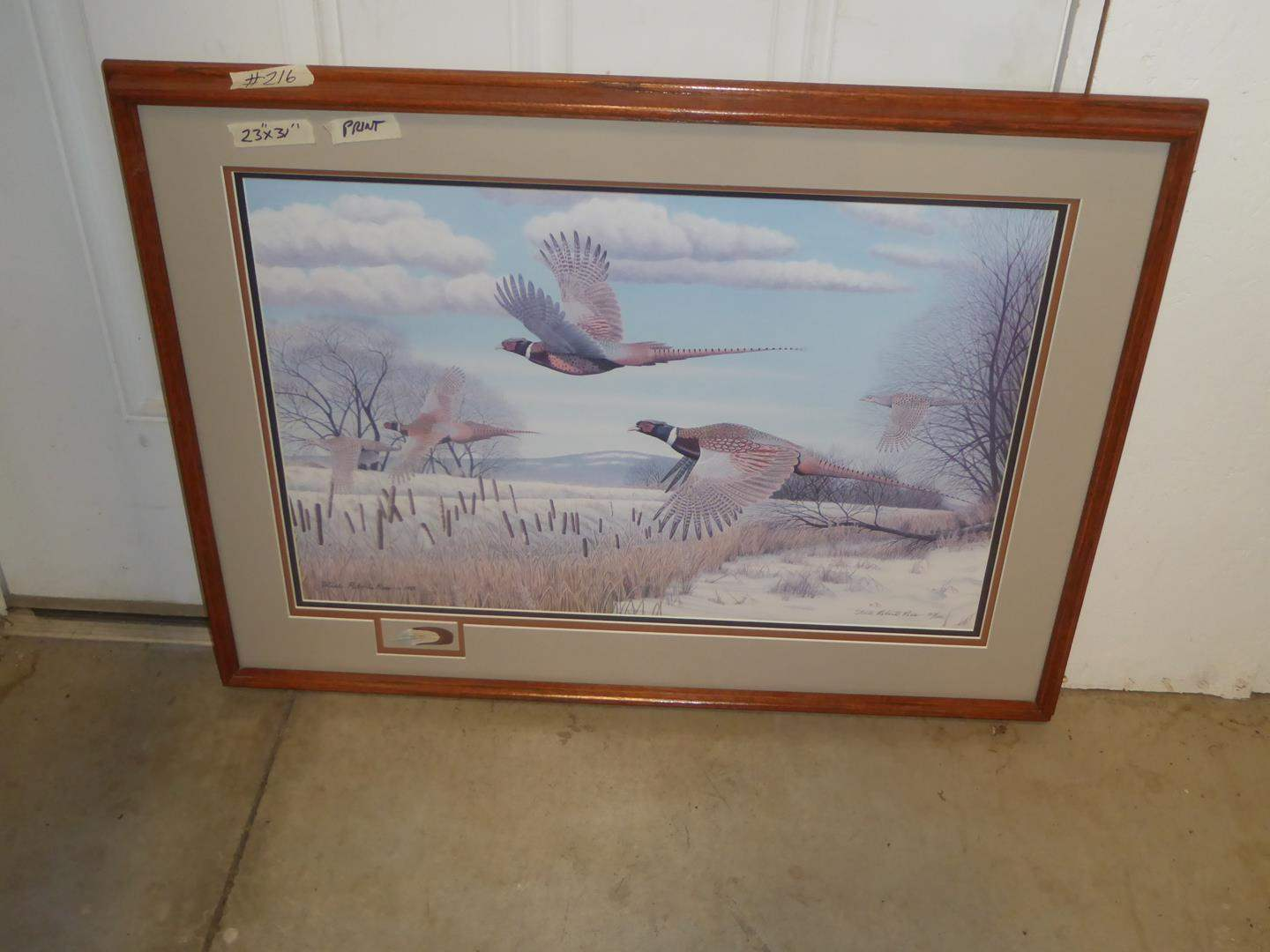 """Lot # 216 - Framed Signed Numbered Print """"Ditch Bend"""" - Ring-necked Pheasants by Steele Roberts-Ross 117/250 (main image)"""