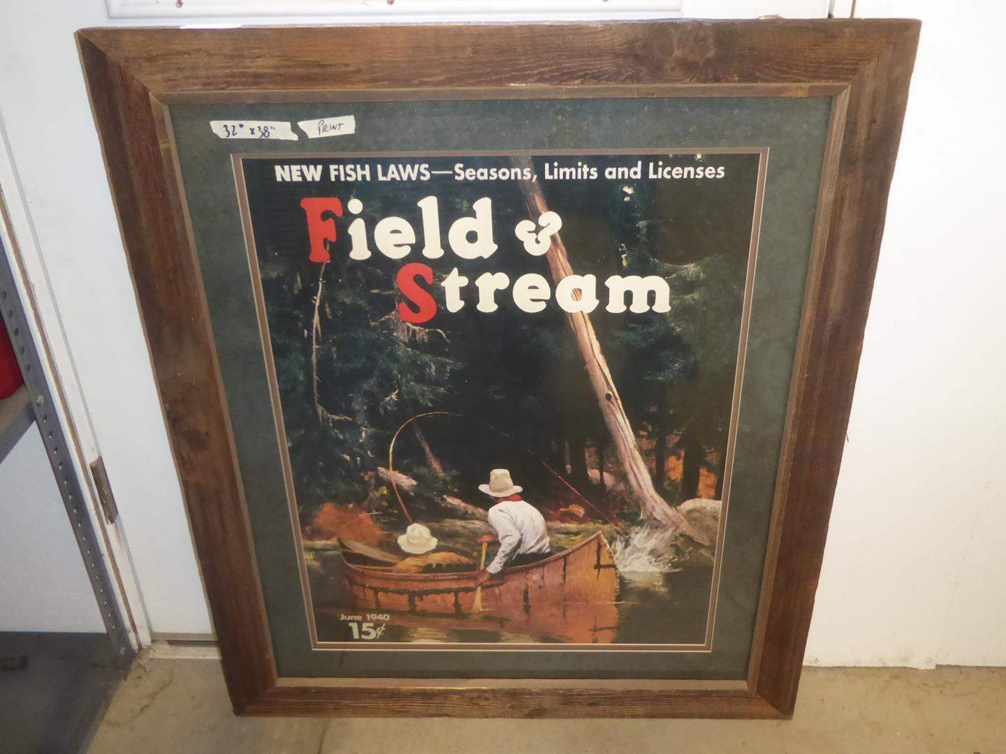 "Lot # 219 - Rustic Wooden Framed Vintage Inspired ""Field & Stream"" Print (main image)"