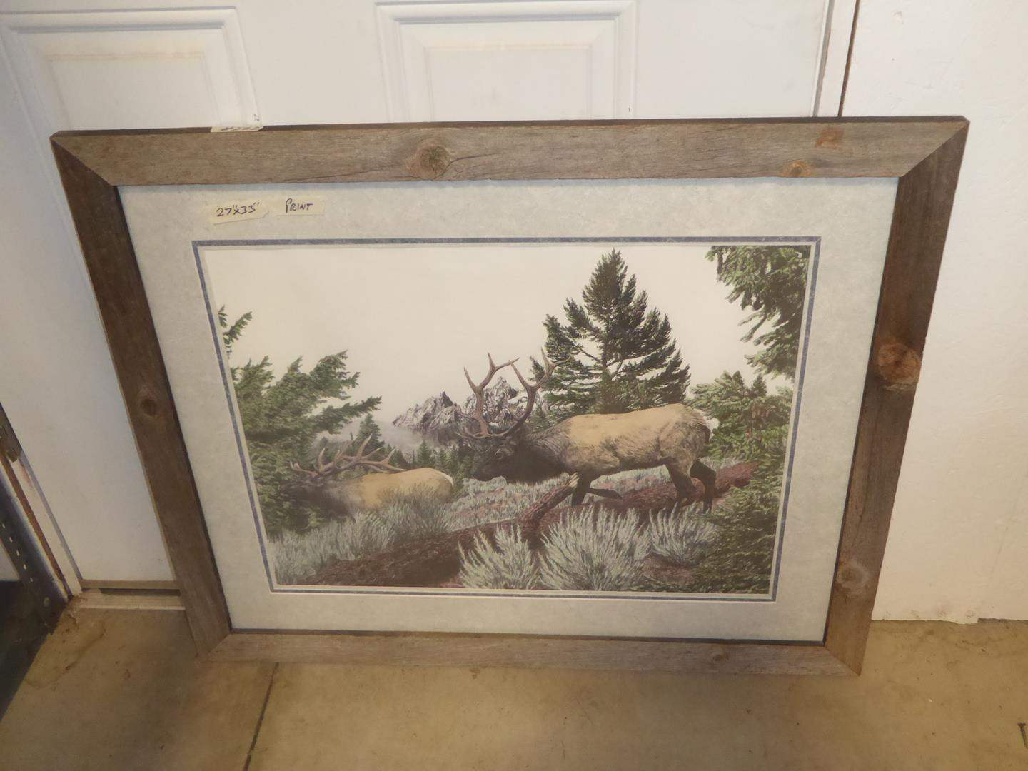 Lot # 222 - Rustic Wooden Framed Print of Two Elks by Terry Maddox  (main image)