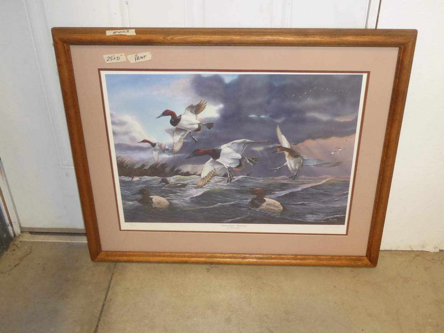 """Lot # 223 - Framed Signed Numbered Print """"Canvasback Memories"""" by Terry Daughtry 782/5300 (main image)"""