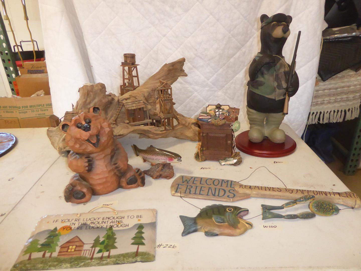Lot # 226 - Cabin Home Decor - Bear Figurines, Driftwood Art, Gone Fishing Clock, Rainbow Trout Sculpture & More (main image)