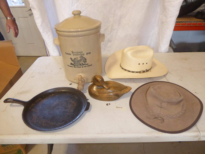 Lot # 227 -  Vintage Buchan's Carbolic Dog Soap Stoneware Crock w Spigot England, Wagner Cast Iron Skillet, Wooden Duck & Hats (main image)