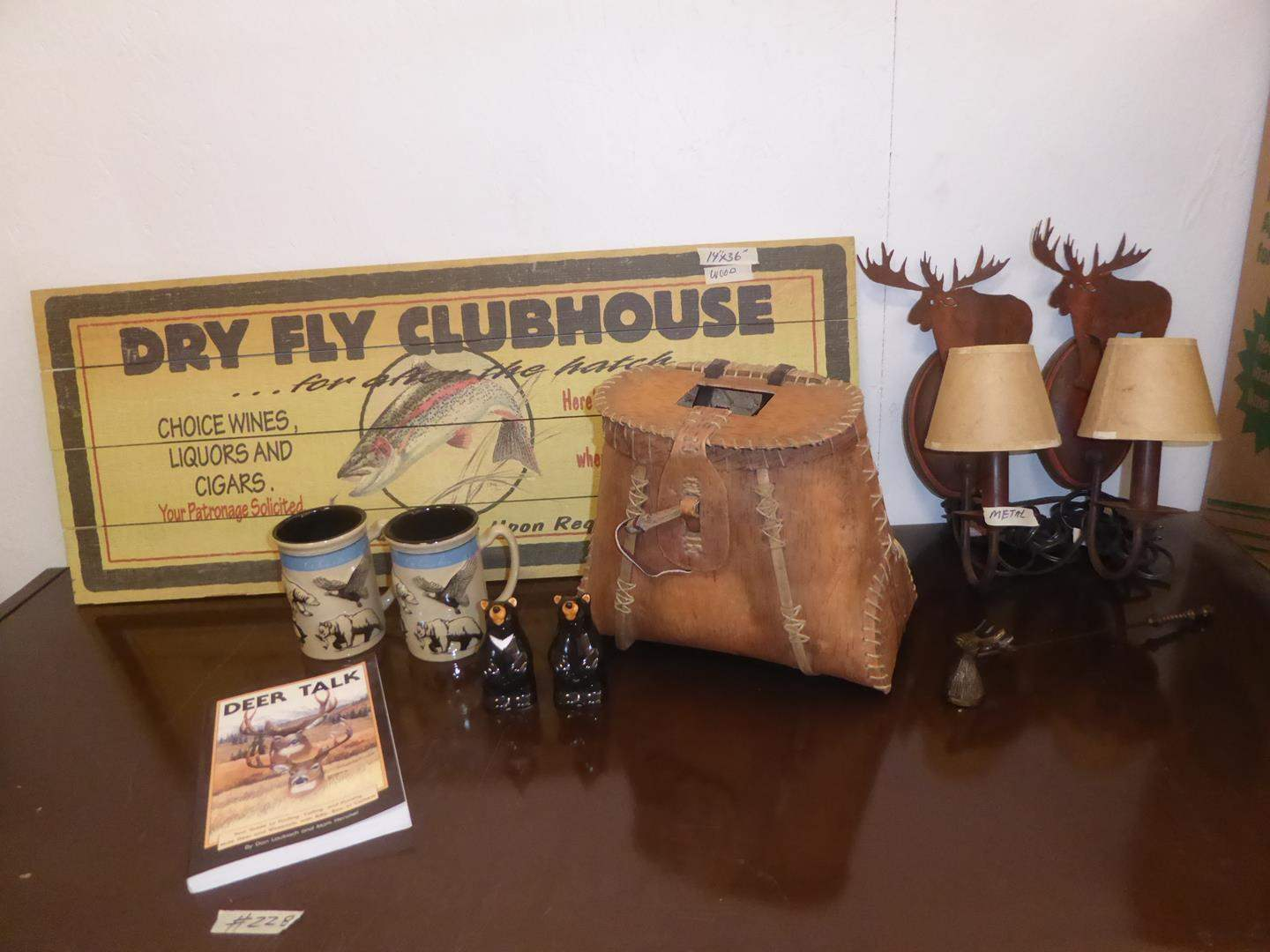 Lot # 228 - Birch Bark Decorative Creel, Alaska Coffee Mugs, Bear S&P Shakers, Wooden Sign & Moose Sconce Lights (main image)
