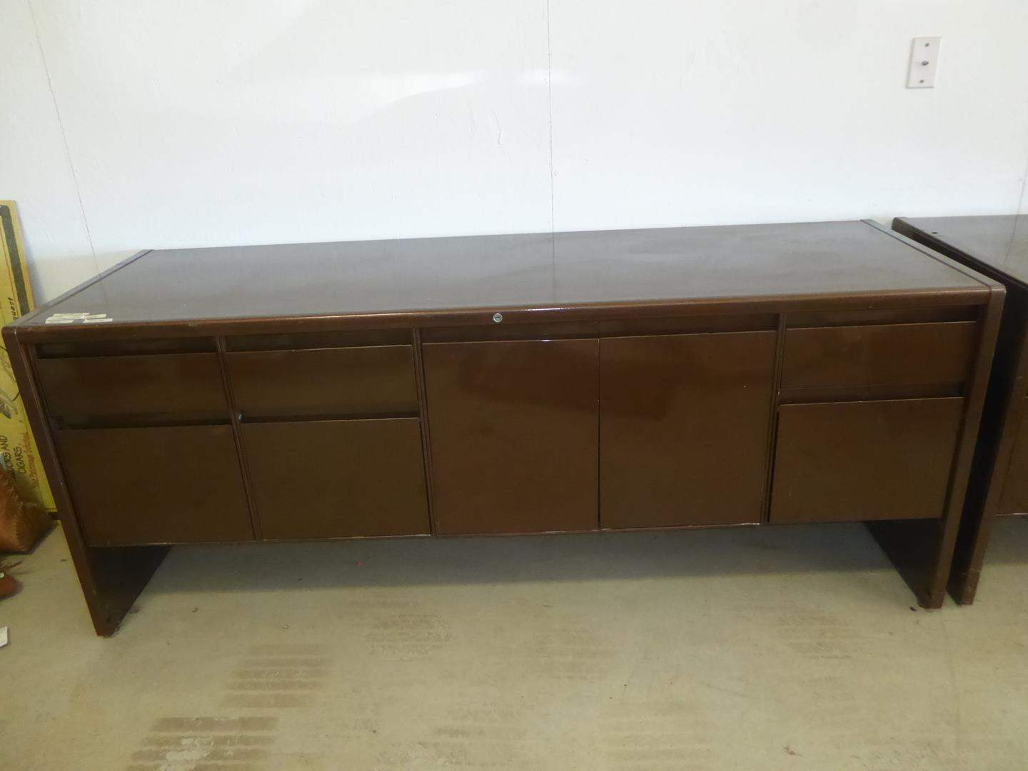 Lot # 231 - Brown Metal Credenza - Matches Desk  (main image)