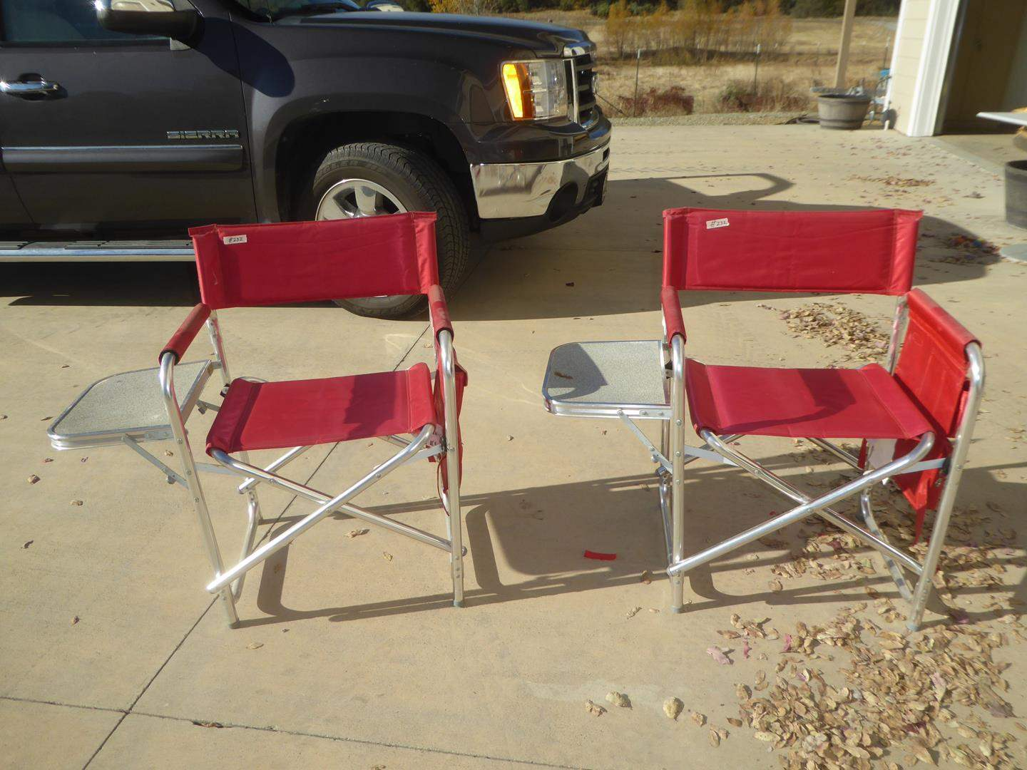 Lot # 232 - Pair Red 'Picnic Time' Folding Sports Chairs (main image)