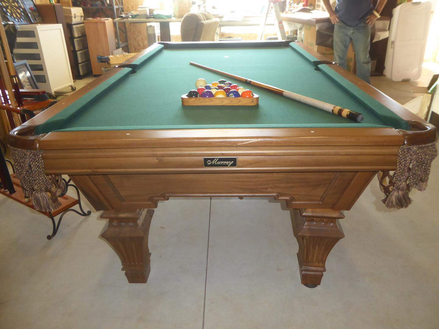 Lot # 234 - Quality 'Murrey' Billiards Pool Table w/Leather Pockets, Wood Frame, Pool Cues & Pool Cue Rack (main image)