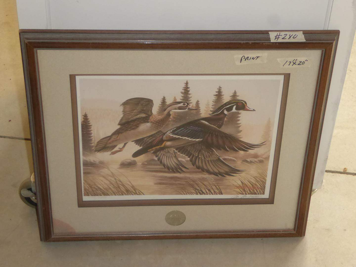 Lot # 240 - Framed Signed Numbered Ducks Unlimited Print 1254/2950 (main image)