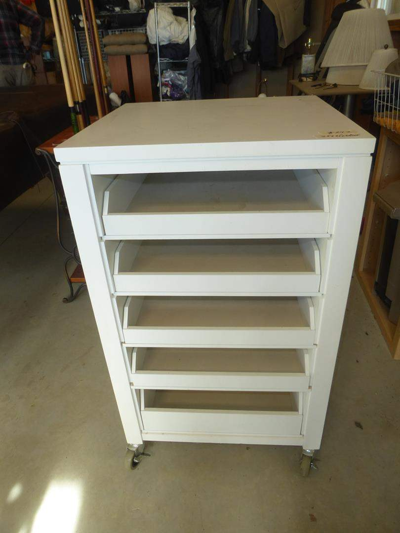 Lot # 242 - Five Drawer Cabinet on Wheels (main image)
