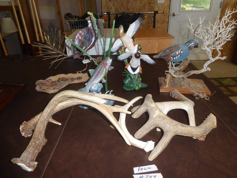 Lot # 244 - Faux Deer Antlers, Resin Rainbow Trout, Bird & Duck Figurines (main image)