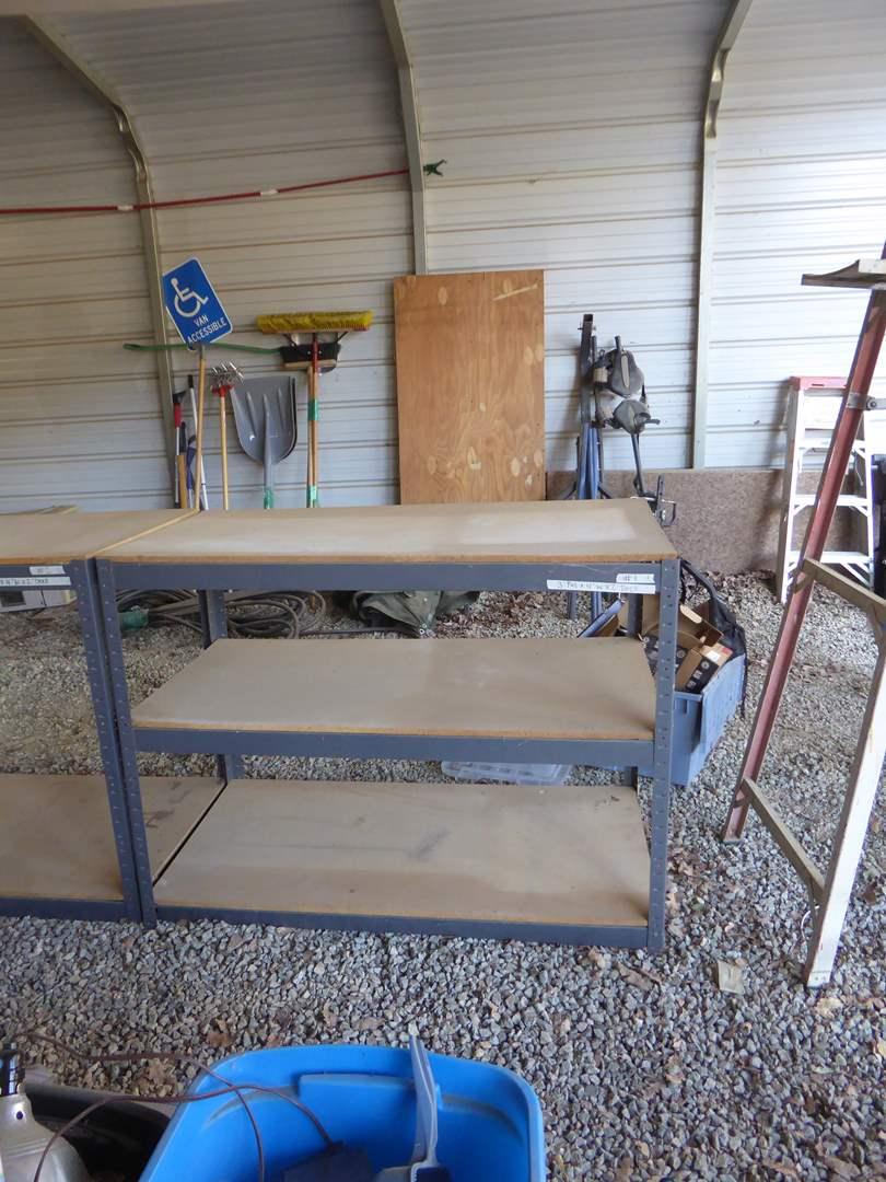 Lot # 1 - Three Tier Metal Shop Shelf  (main image)