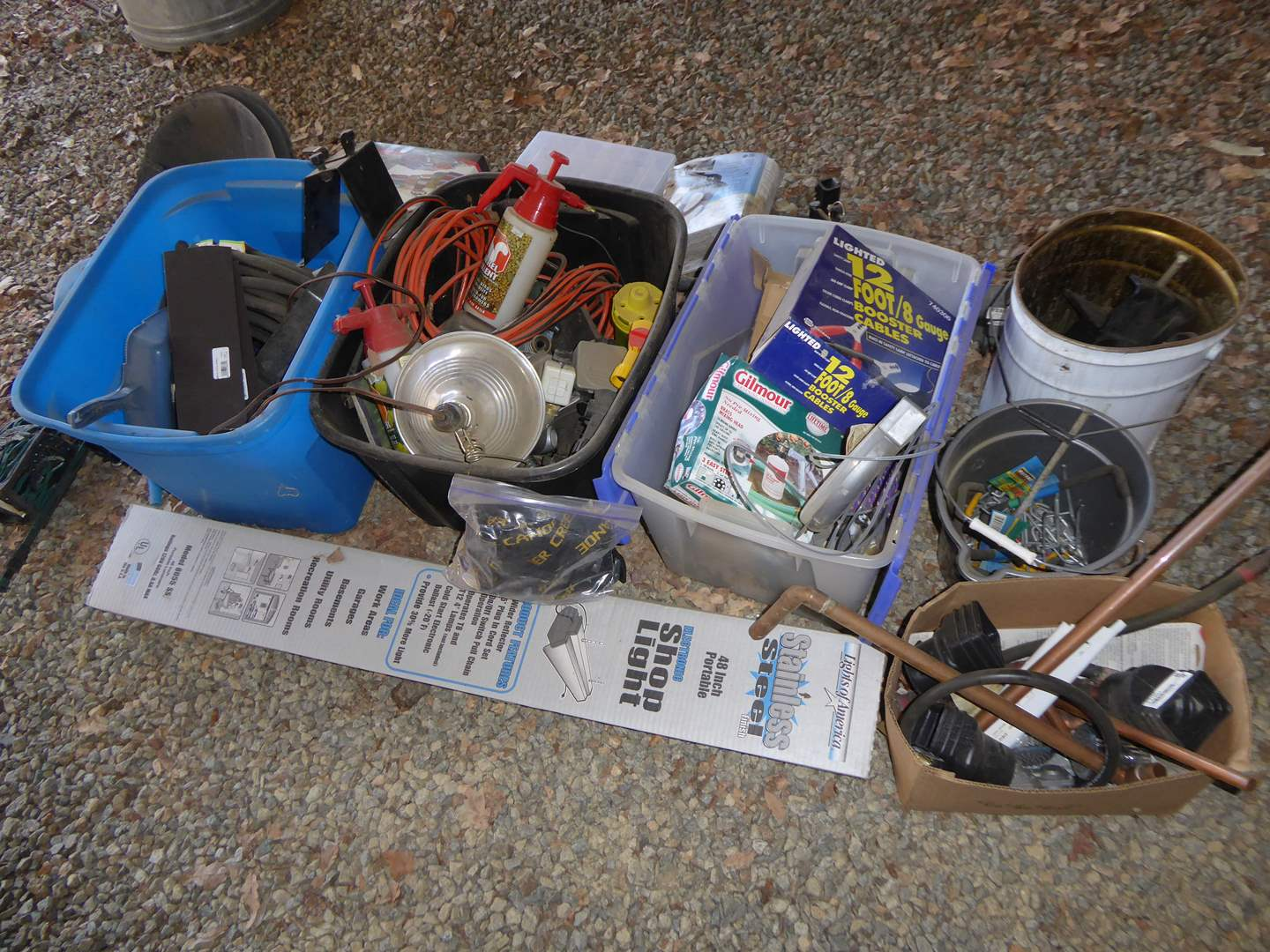 Lot # 8 - Miscellaneous Shop Lot - Stainless Steel Shop Light, Booster Cables, Bug Spray & More  (main image)