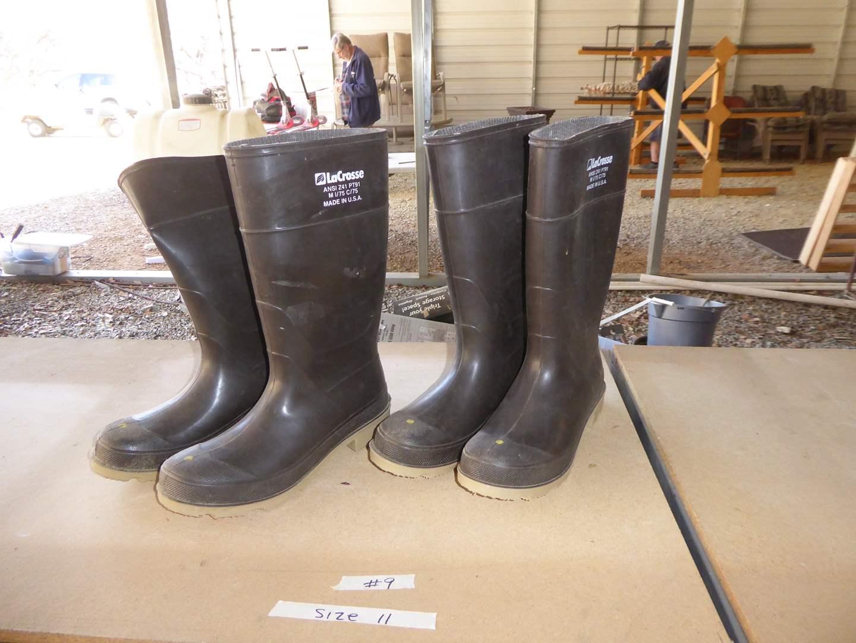Lot # 9 - Two Pairs LaCrosse Boots Men's (Size 11)  (main image)
