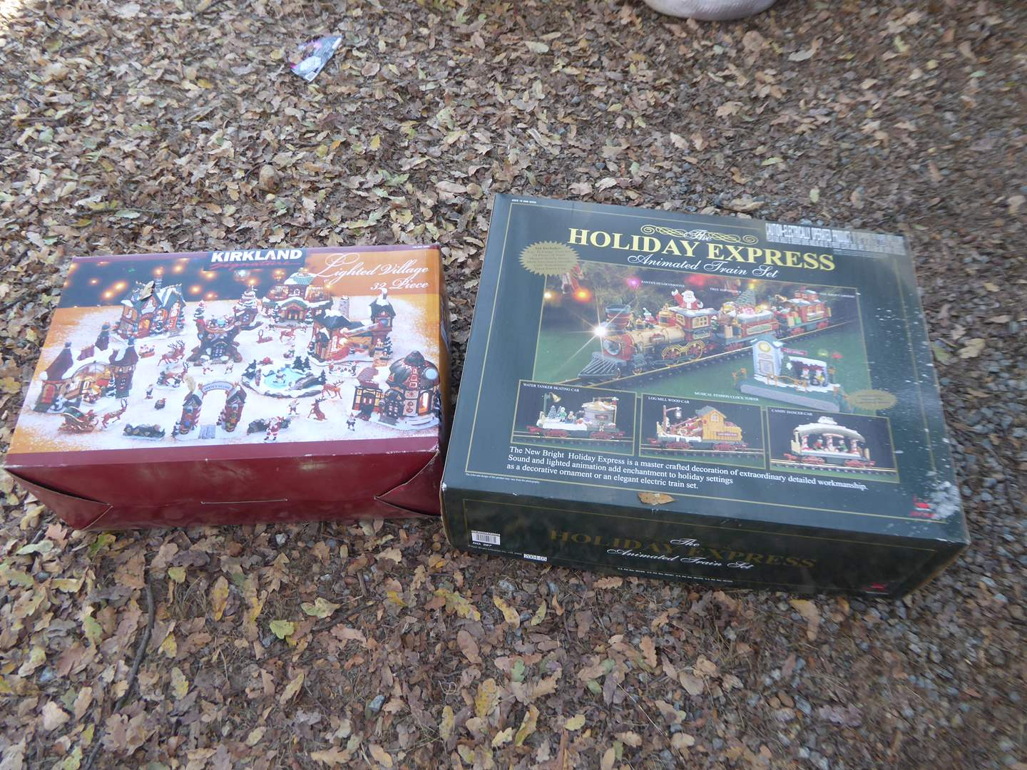 Lot # 12 - 32 Piece Lighted Village & Holiday Express Animated Train Set  (main image)