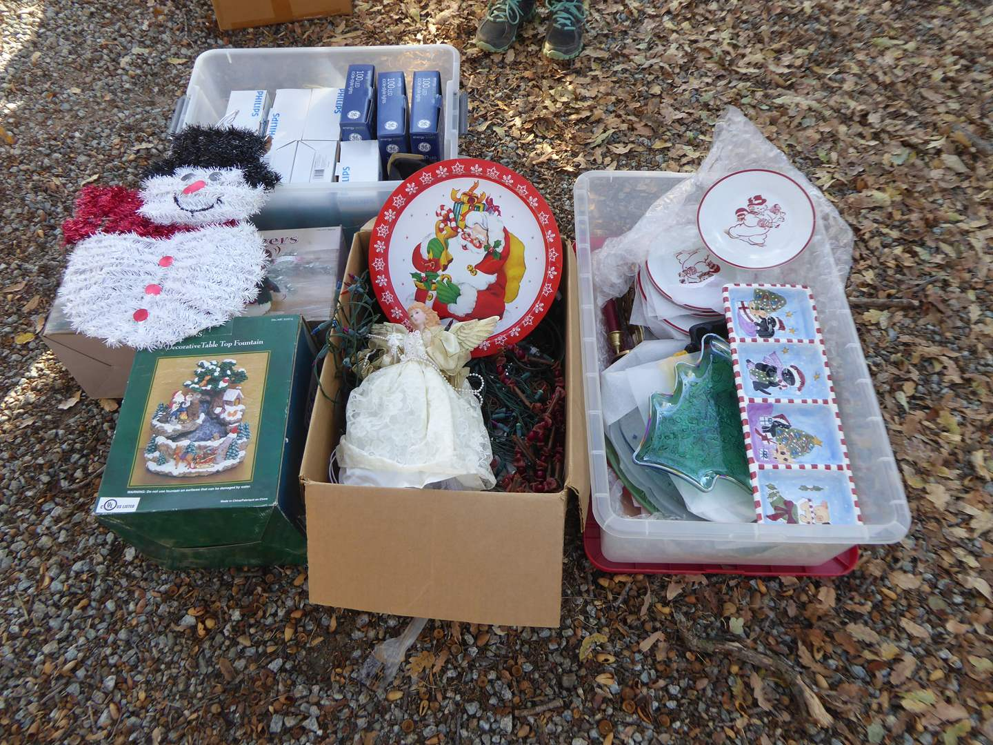 Lot # 16 - Christmas Lot - Christmas Lights, Christmas Platters & Table Top Fountain  (main image)