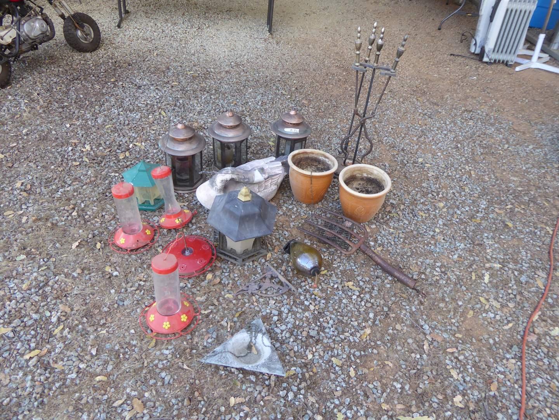 "Lot # 26 - Candle Holder Lanterns, Hummingbird Feeders & ""Singing Tree"" Ceramic Composite Goose  (main image)"