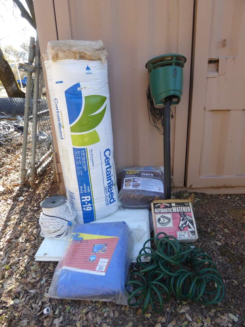 Lot # 46 - Mosquito Power Trap, Fiberglass Insulation, Tarps & More  (main image)