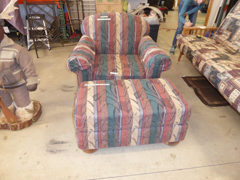 Lot # 254 - Nice High Quality Chair W/Matching Footstool   (main image)