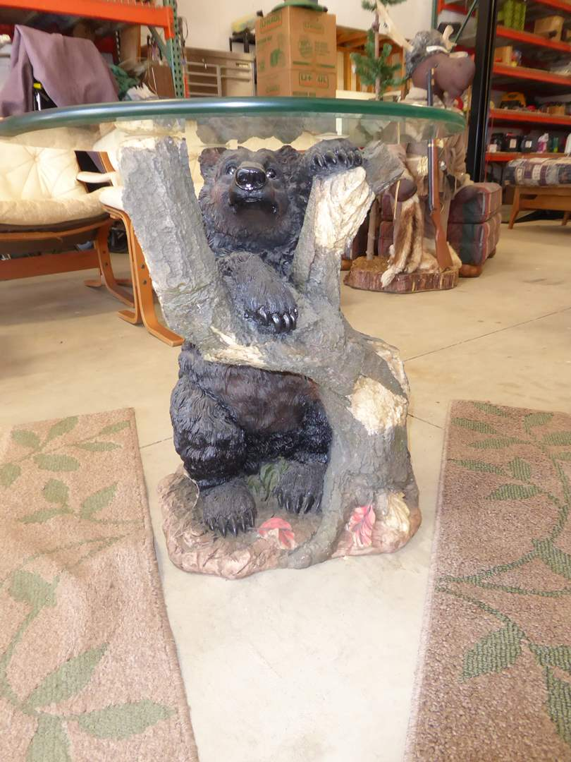 Lot # 258 - Resin Bear Table & Two Matching Rugs   (main image)