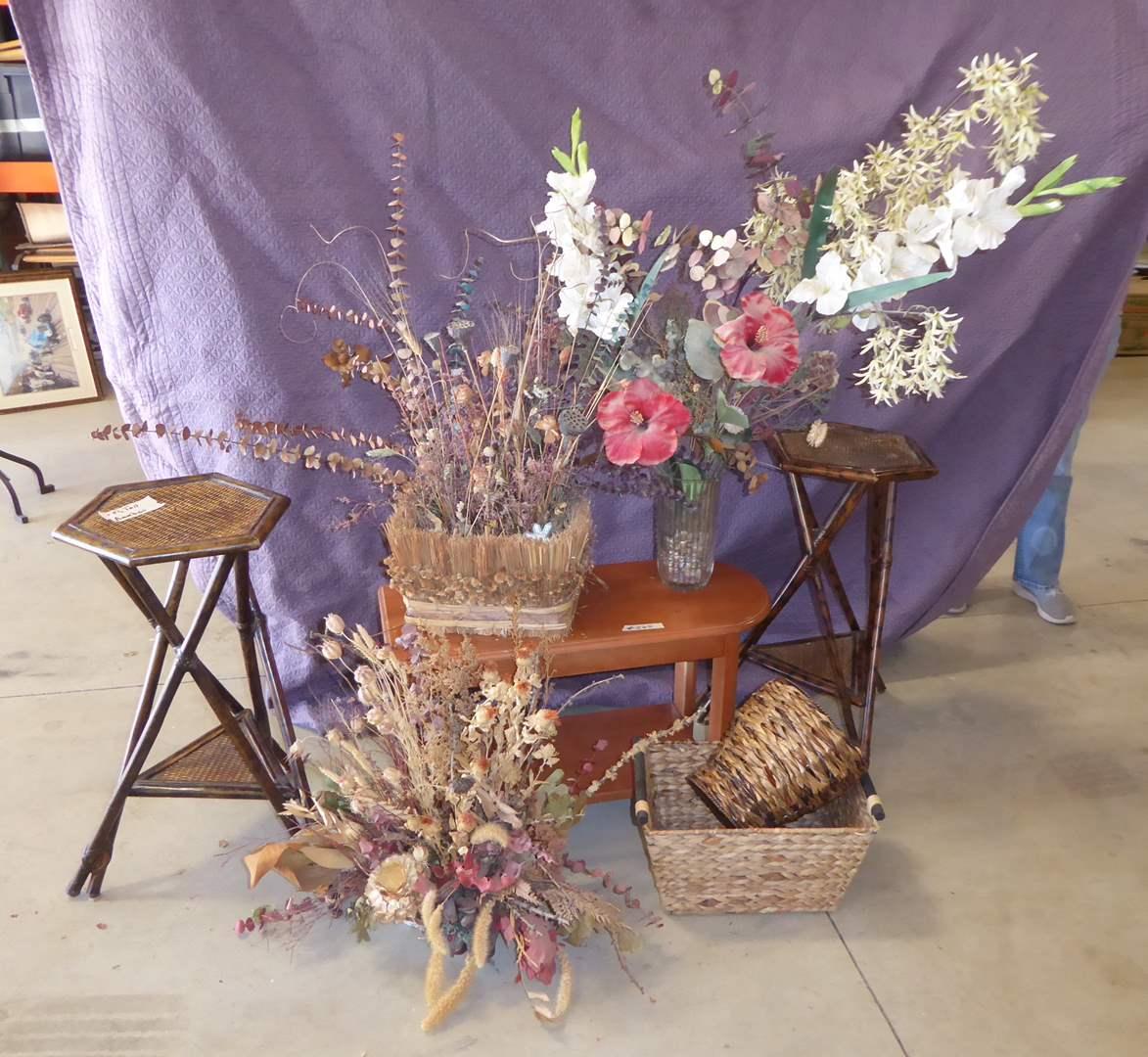 Lot # 265 - Two Matching Side Tables & Faux Floral Arrangements  (main image)