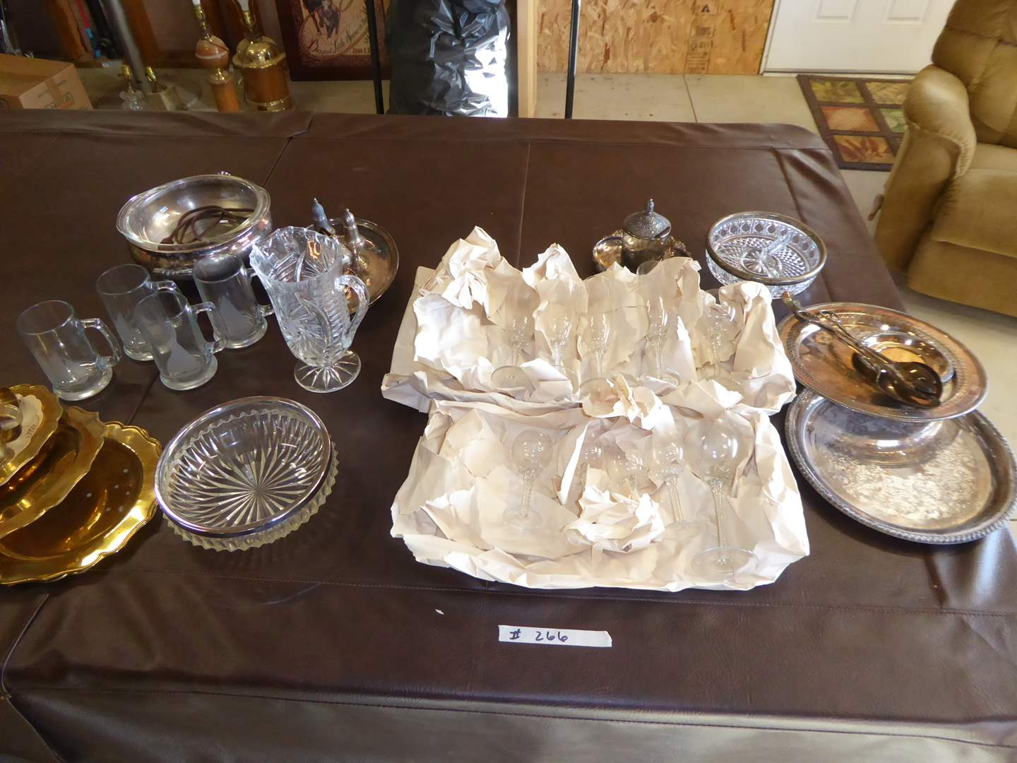 Lot # 266 - Etched Sail Boat Mugs, Brass Plates, Unique Stemware & Serving Dishes  (main image)