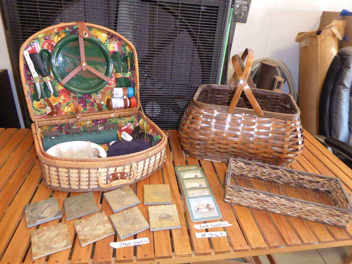 Lot # 267 - Stone & Cork Coasters & Picnic Basket  (main image)