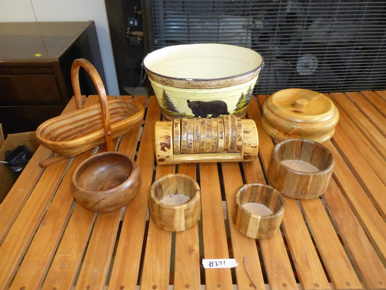 Lot # 271 - Folding Wooden Basket, Wooden Bowls, Metal Bucket Bowl & Coasters  (main image)