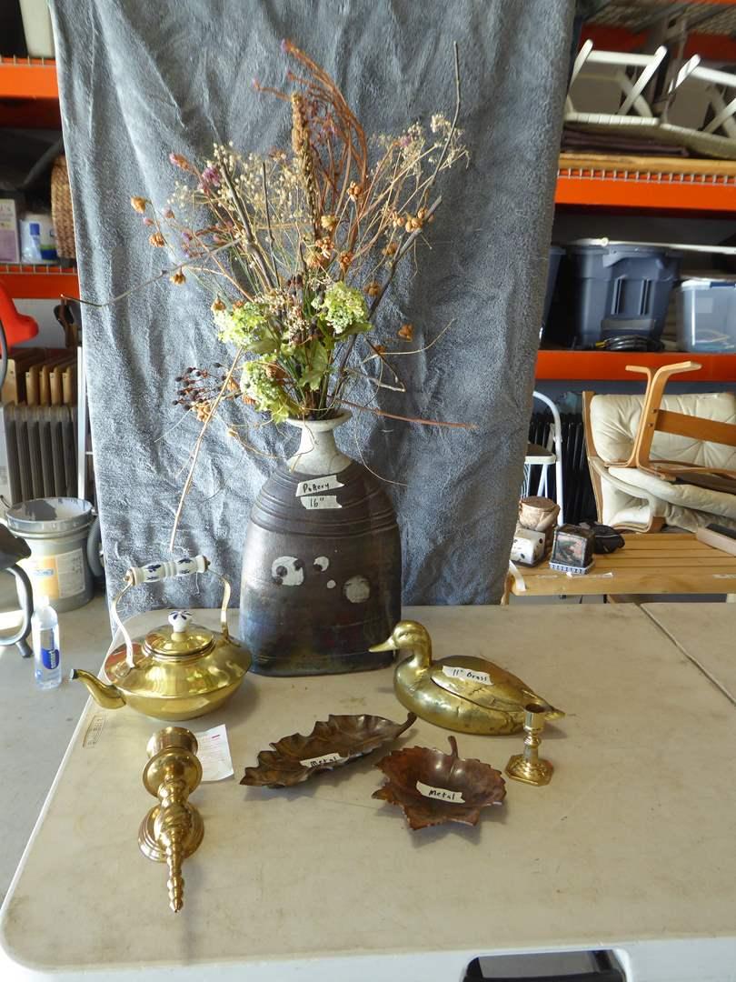 Lot # 274 - Pottery Vase, Brass Duck & Tea Pot  (main image)
