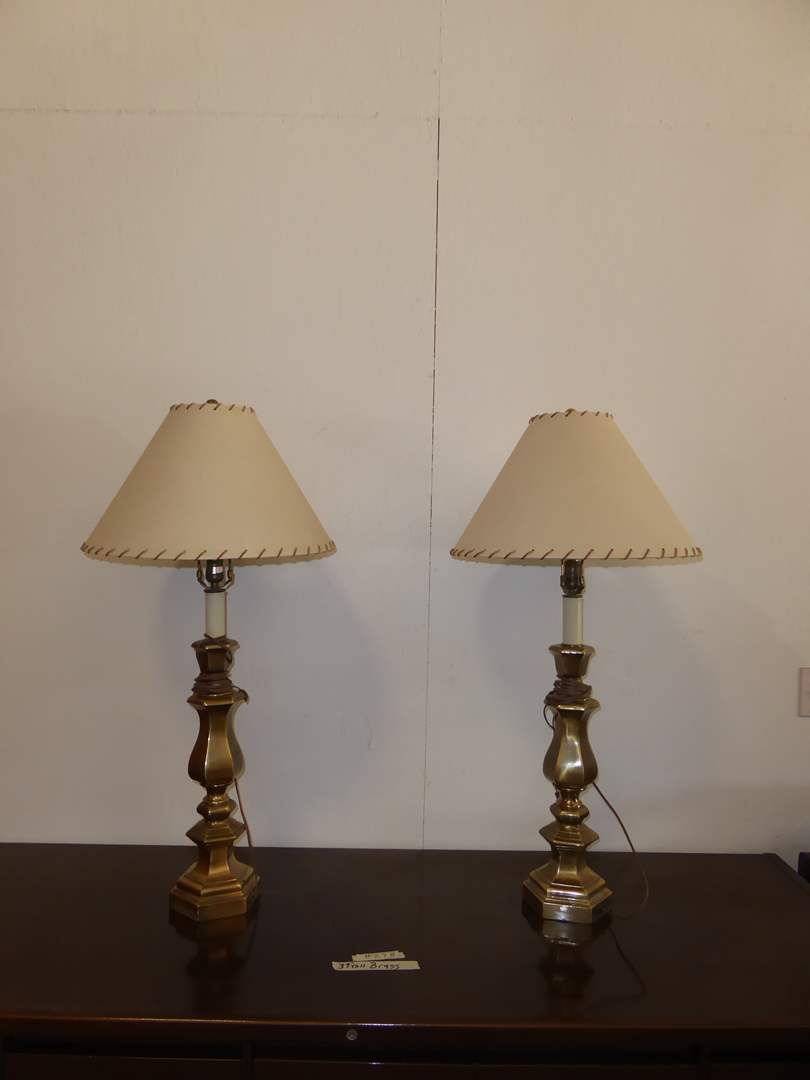 Lot # 278 - Two Brass Table Lamps  (main image)