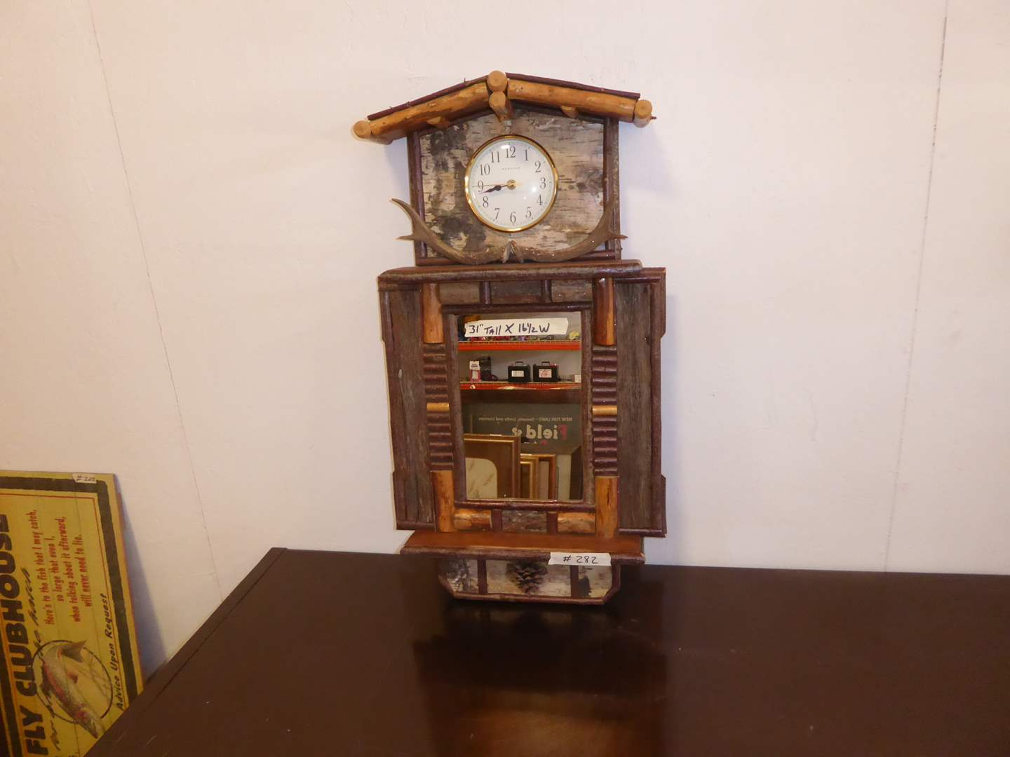 Lot # 282 - Cute Handmade Cabin Clock  (main image)