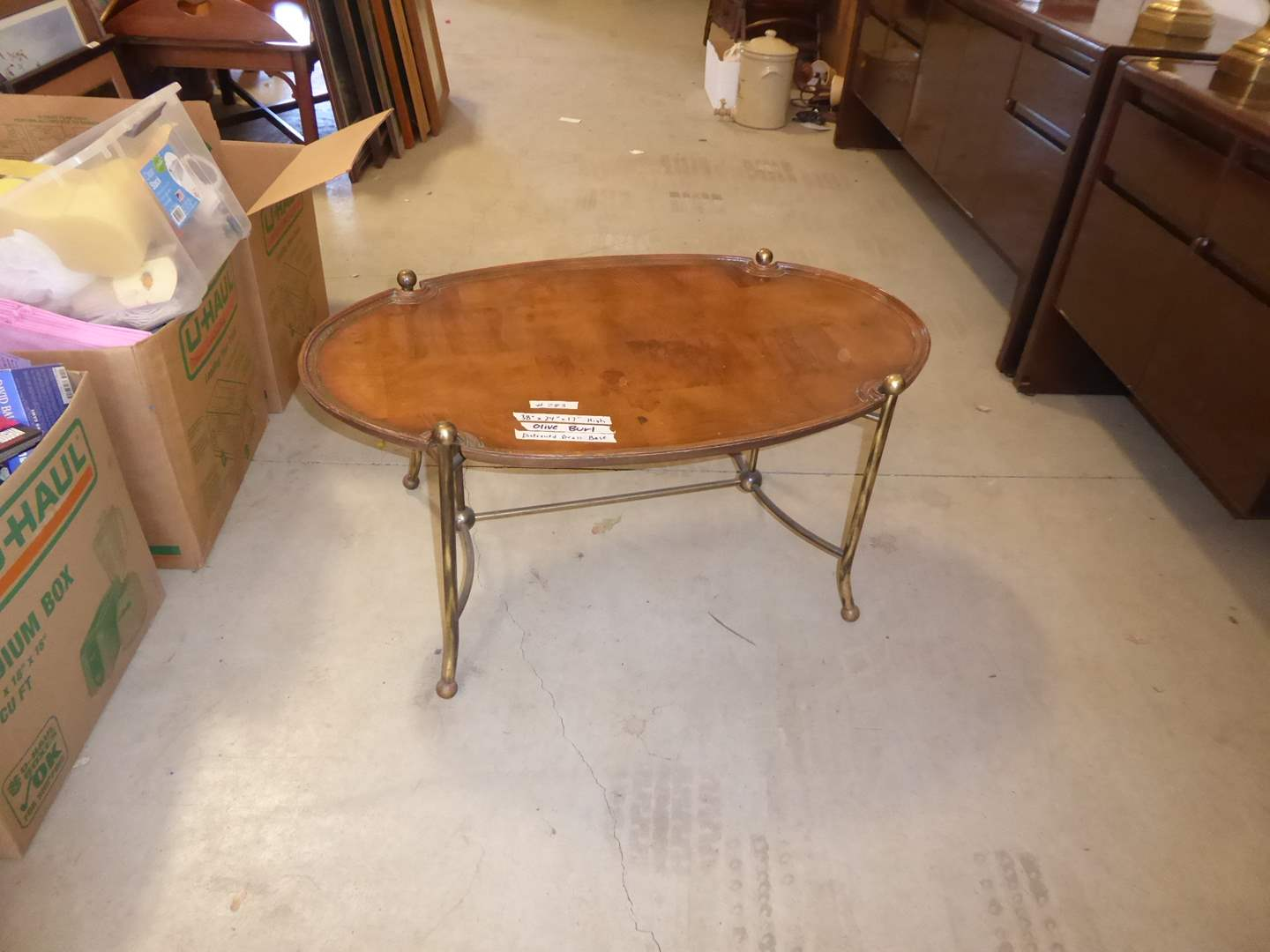 Lot # 283 - Olive Burl Coffee Table W/Distressed Brass Base  (main image)
