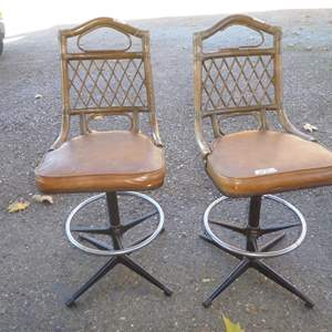 Auction Thumbnail for:  Lot # 58 - Pair Vintage Swivel Bar Stools