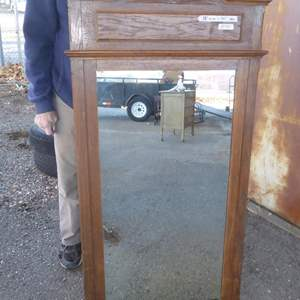 Auction Thumbnail for:  Lot # 94 - Antique Wood Framed Wall or Dresser Mirror