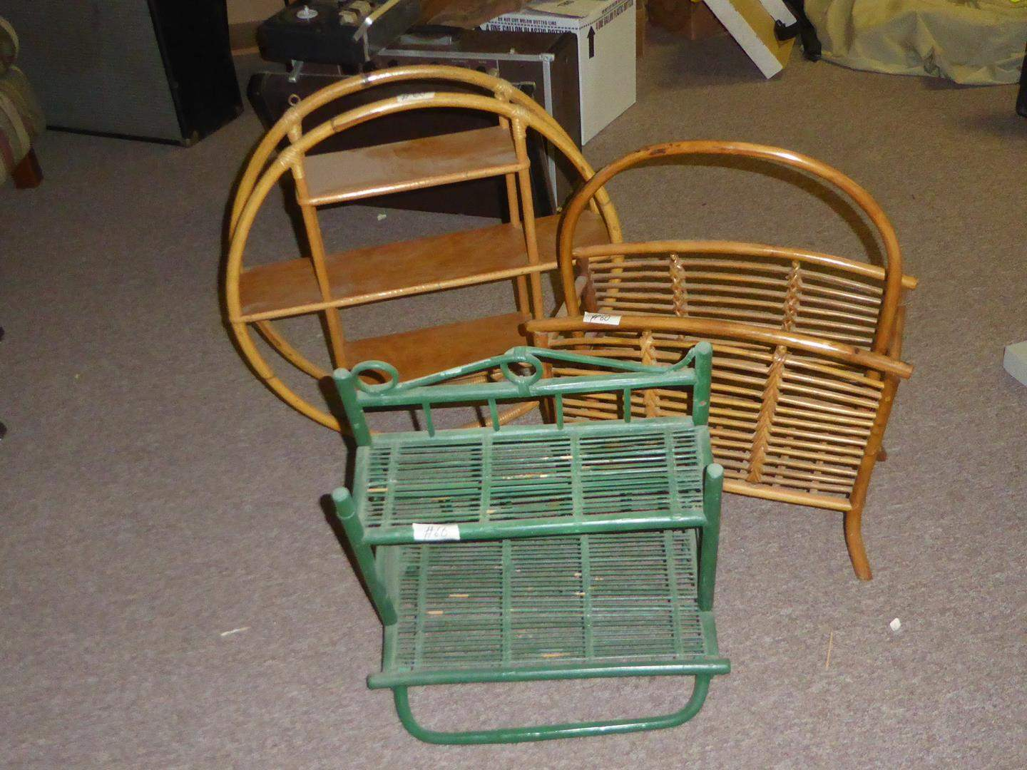 Lot # 60 - Bathroom Wall Shelf, Hoop Shelf & Magazine Rack (main image)