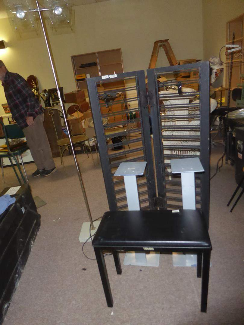 Lot # 62 - Yamaha Piano Bench, Pair Metal Stands, Display Stand & Double Floor Lamp (main image)