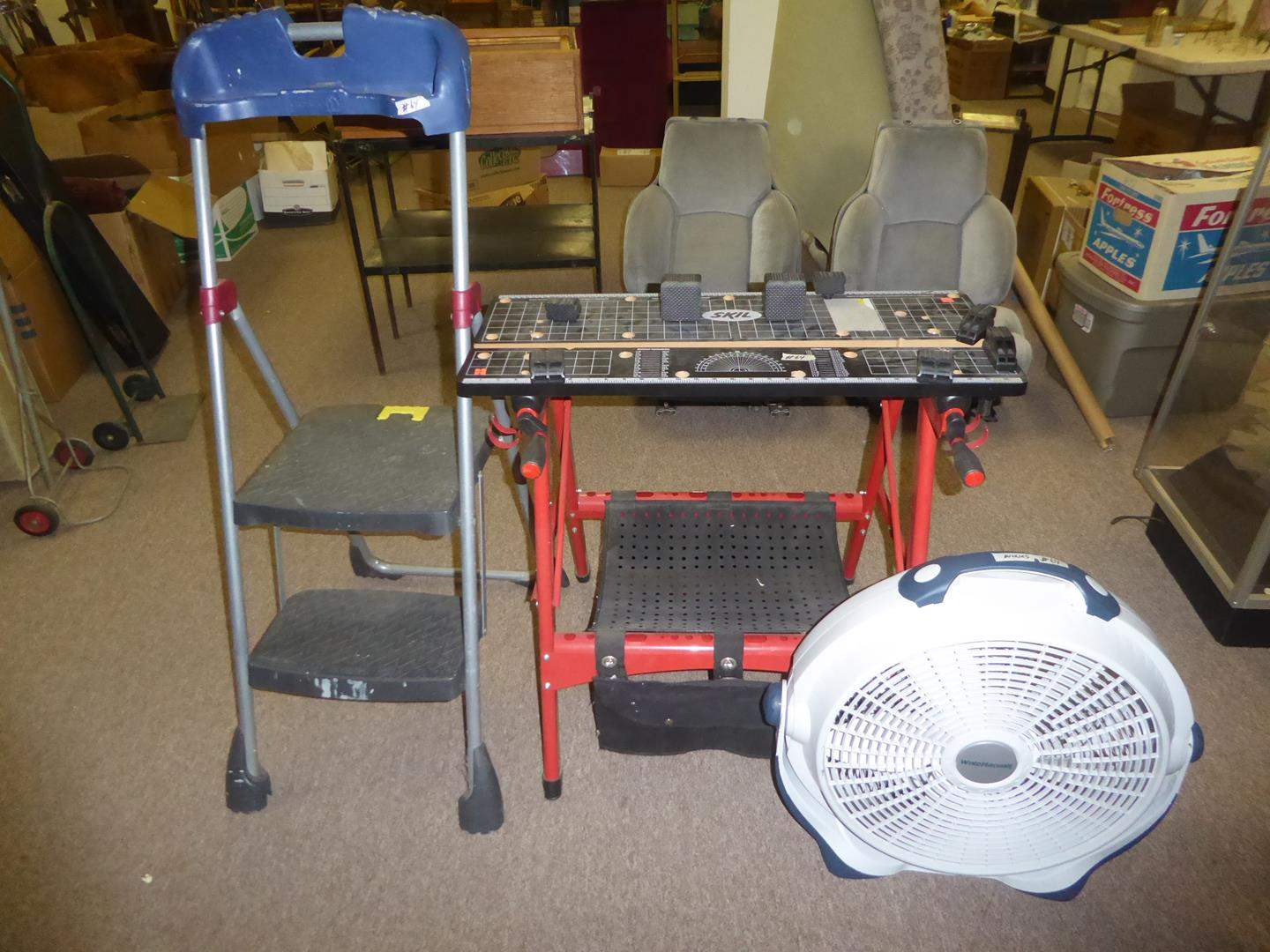 Lot # 64 - Step Ladder, Skil Portable Work Table & Fan (main image)