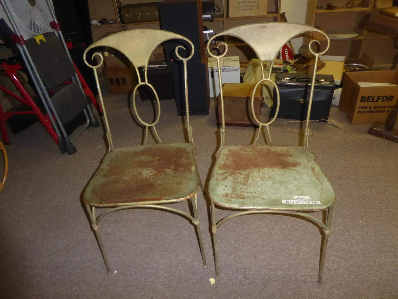 Lot # 65 - Pair Vintage Heavy Metal Chairs (main image)